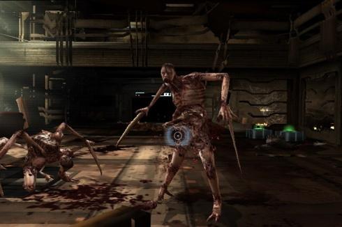 Como era de esperarse, deberemos disparar con mucho frenetismo a estas asquerosas criaturas llamadas Necromorfos